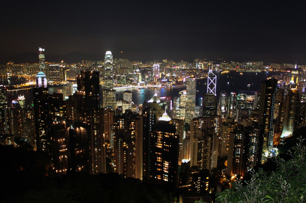 Hong Kong skyline by night.