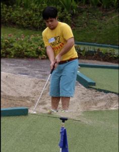 They say Jeremy has a mean swing. Here, he shows that he also has the right stroke that can get him out of the sand and into the hole.